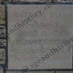 Eden Bridge Gardens Opening Plaque 1933