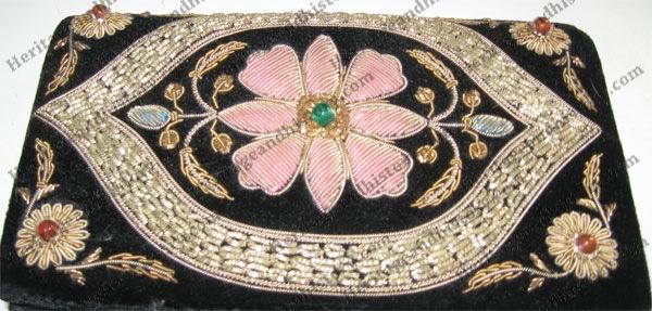 Goldwork on velvet purse