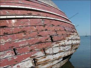 A wooden hull slowly rots near Roa Island