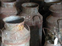 Milk churns saved from the scrap man